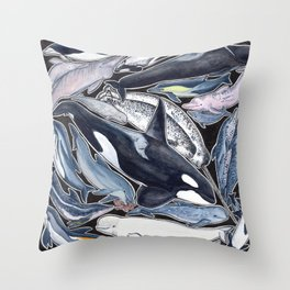 Dolphin, orca, beluga, narwhal & cie Throw Pillow