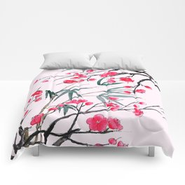bamboo and red plum flowers in pink background Comforters