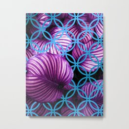Purple Leaves Blue Geometric Metal Print