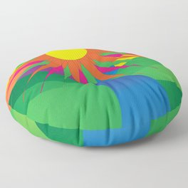 Psychedelic Sun Neon Mountain River Lands Floor Pillow