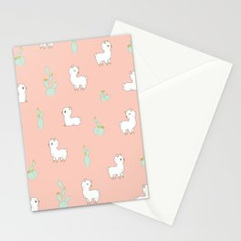 cactus and alpaca pattern Stationery Cards