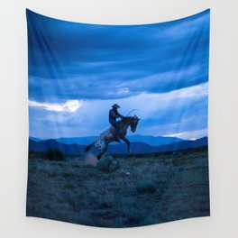 Santa Fe Cowboy Being Bucked Off Wall Tapestry