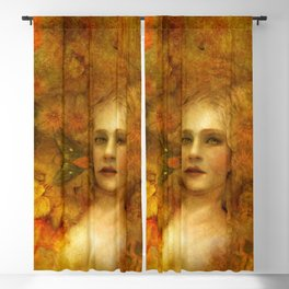 """Ophelia among golden oriental flowers"" Blackout Curtain"