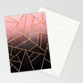 Pink And Black Stone Stationery Cards