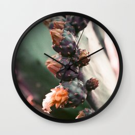Purplechrome Cactus Flowering and Thriving  Wall Clock