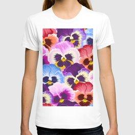 Multicolor pansies floral pattern T-shirt