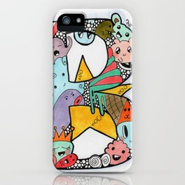 Letter 'B' filled with doodles iPhone Case