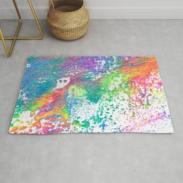 Rainbow Paint Splatter V2 Rug