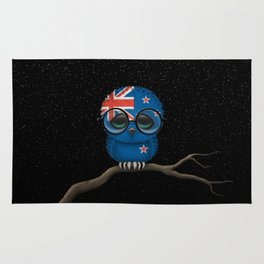 Baby Owl with Glasses and New Zealand Flag Rug
