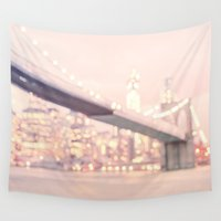 brooklyn bridge Wall Tapestries featuring Brooklyn Bridge by Vivienne Gucwa