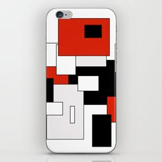Squares - red, gray, black and white iPhone & iPod Skin
