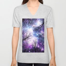 Black Trees Violet Purple Blue Space Unisex V-Neck