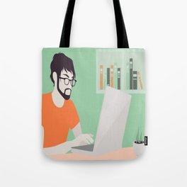 Handsome man with laptop illustration Tote Bag