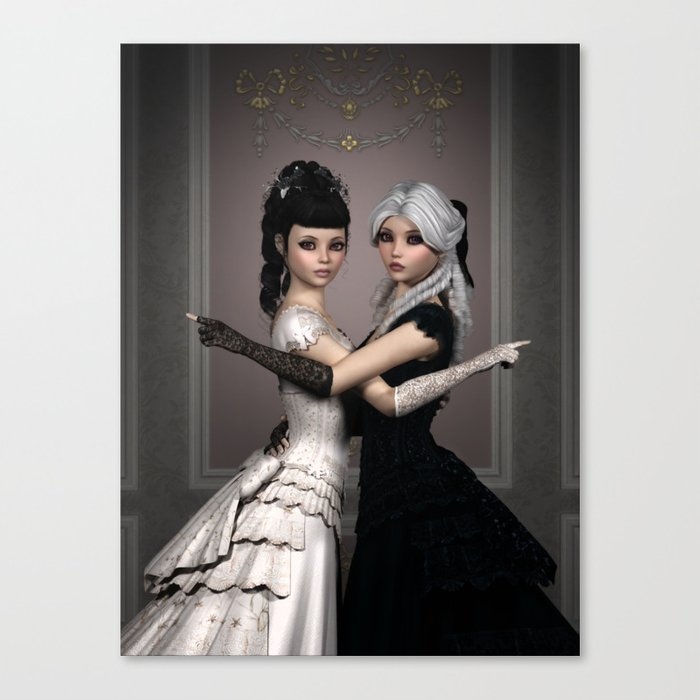 Beautiful Ladies and a difficult choice Canvas Print