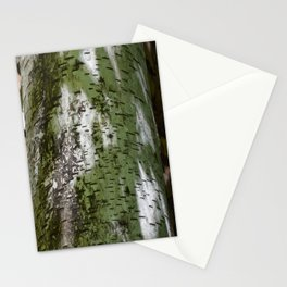Birch Bark Pattern Green and White Wood Pattern Bring the Outdoors In Stationery Cards