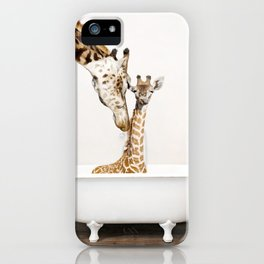 Bathitude - Mother & Baby Giraffe in a Vintage Bathtub (c) iPhone Case