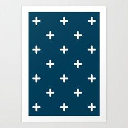 White Crosses on Deep Teal Art Print
