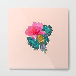 Tropical Summer Watercolor Pink Green Yellow Floral Metal Print