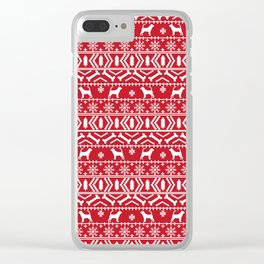 Bloodhound fair isle christmas sweater red and white minimal dog silhouette holiday gifts Clear iPhone Case