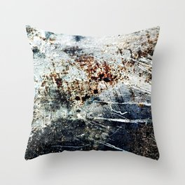 Rusty Scratched Metal Weathered Texture Abstract Throw Pillow