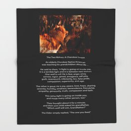 TWO WOLVES CHEROKEE TALE Native American Tale Throw Blanket