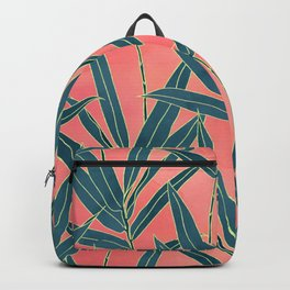 Modern coral and blue foliage design Backpack