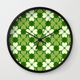 St. Patrick Day Clover 5 - Green Pattern Wall Clock