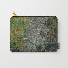 Austin Texas old vintage colorful map, original gift for office decoration Carry-All Pouch
