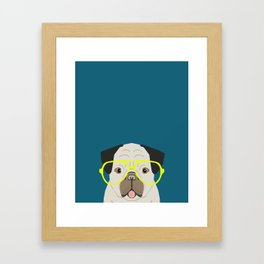 Emerson - Pug with neon Hipster Glasses, Cute Retro Dog, Dog, Husky with Glasses, Funny Dog Framed Art Print
