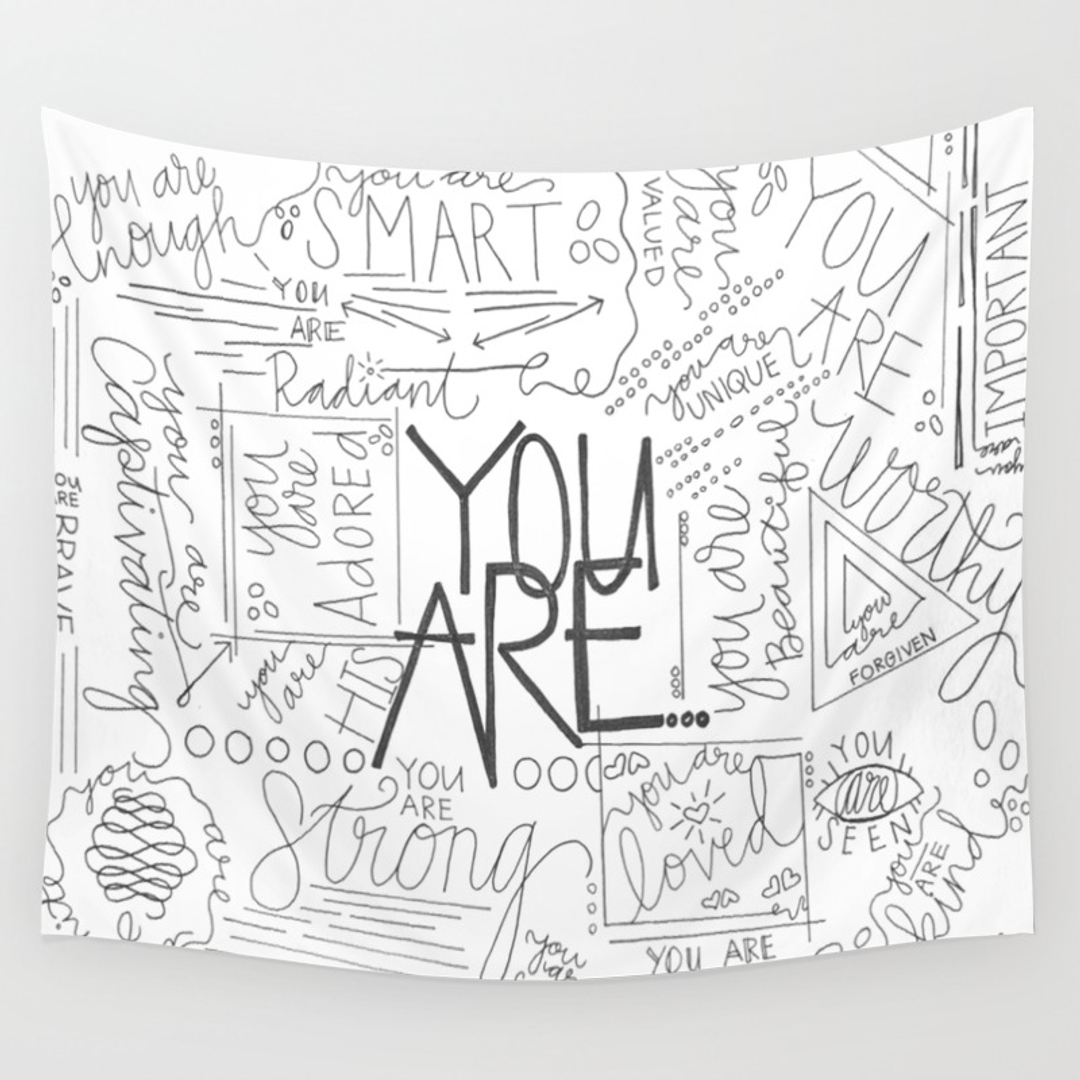 love and typography wall tapestries society6