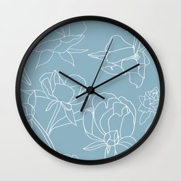 Roses, Line Drawing, White on Pale Blue Wall Clock
