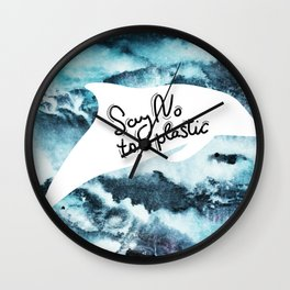 Say no to plastic. dolphin, sea, ocean Wall Clock