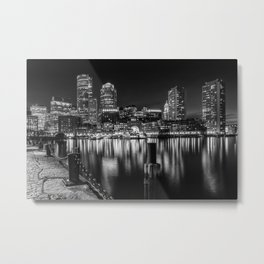 BOSTON Fan Pier Park & Skyline at night | monochrome Metal Print