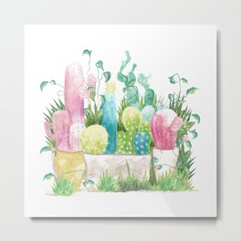 Cactus garden bed watercolour Metal Print
