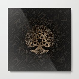 Tree of life with Triquetra on Futhark pattern Metal Print