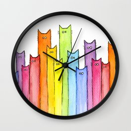 Cat Rainbow Watercolor Whimsical Animals Cats Pattern Wall Clock