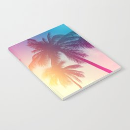 Coconut palm tree at tropical beach, colorful vintage tones Notebook