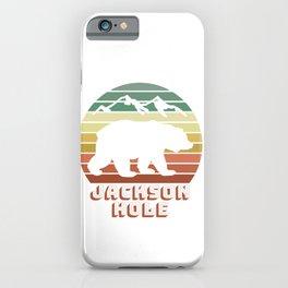 Jackson Hole Wyoming Bear Sunset Retro Gifts iPhone Case