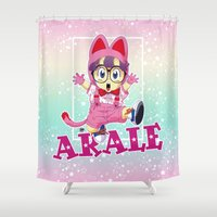 vegeta Shower Curtains featuring Dr Slump & Arale  by Neo Crystal Tokyo