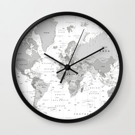 World Map [Black and White] Wall Clock