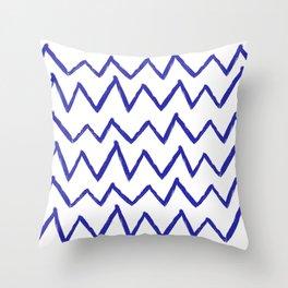 Hand-Drawn Zig Zag (Navy Blue & White Pattern) Throw Pillow