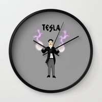tesla Wall Clocks featuring Tesla by Designs By Misty Blue (Misty Lemons)