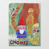gnome Canvas Prints featuring Gnome by caraemoore
