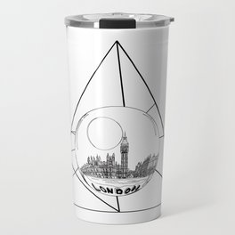 Graphic . geometric shape gray London in a bottle Travel Mug