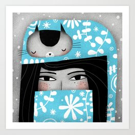 WINTER CAT HAT Art Print