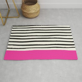 Bright Rose Pink x Stripes Rug