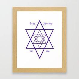 Happy Chanukah Blue Star of David for 5779 2018 Receding Perspective Framed Art Print