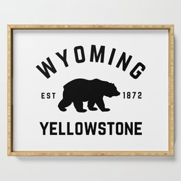 Wyoming Yellowstone National Park Grizzly Bear Vintage Travel Sign Serving Tray