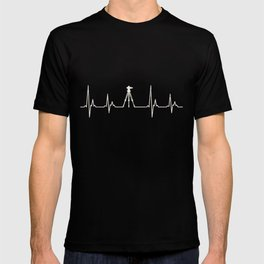 Surveyor gifts - Surveyor tripod heart beat Tshirt T-shirt