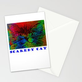 Scaredy Cat, Multicoloured Moggy Stationery Cards